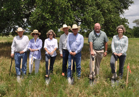 From left to right: Dixon Water Foundation Vice President Clint Josey and wife Betty Josey; Melissa Bookhout, the foundation's treasurer and office manager; Robert Potts, the foundation's president and CEO; Robby Tuggle, ranch foreman; Greg Gammill, president of Lincoln Builders; and Tenna Florian, Lake|Flato architect.