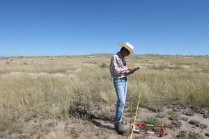 Ohnishi collects soil data at Mimms Unit (Photo by Nora Ohnishi)